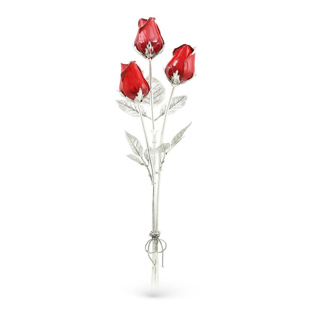 Mazzo di rose rosse in argento e smalto 48cm - GI.RO'ART