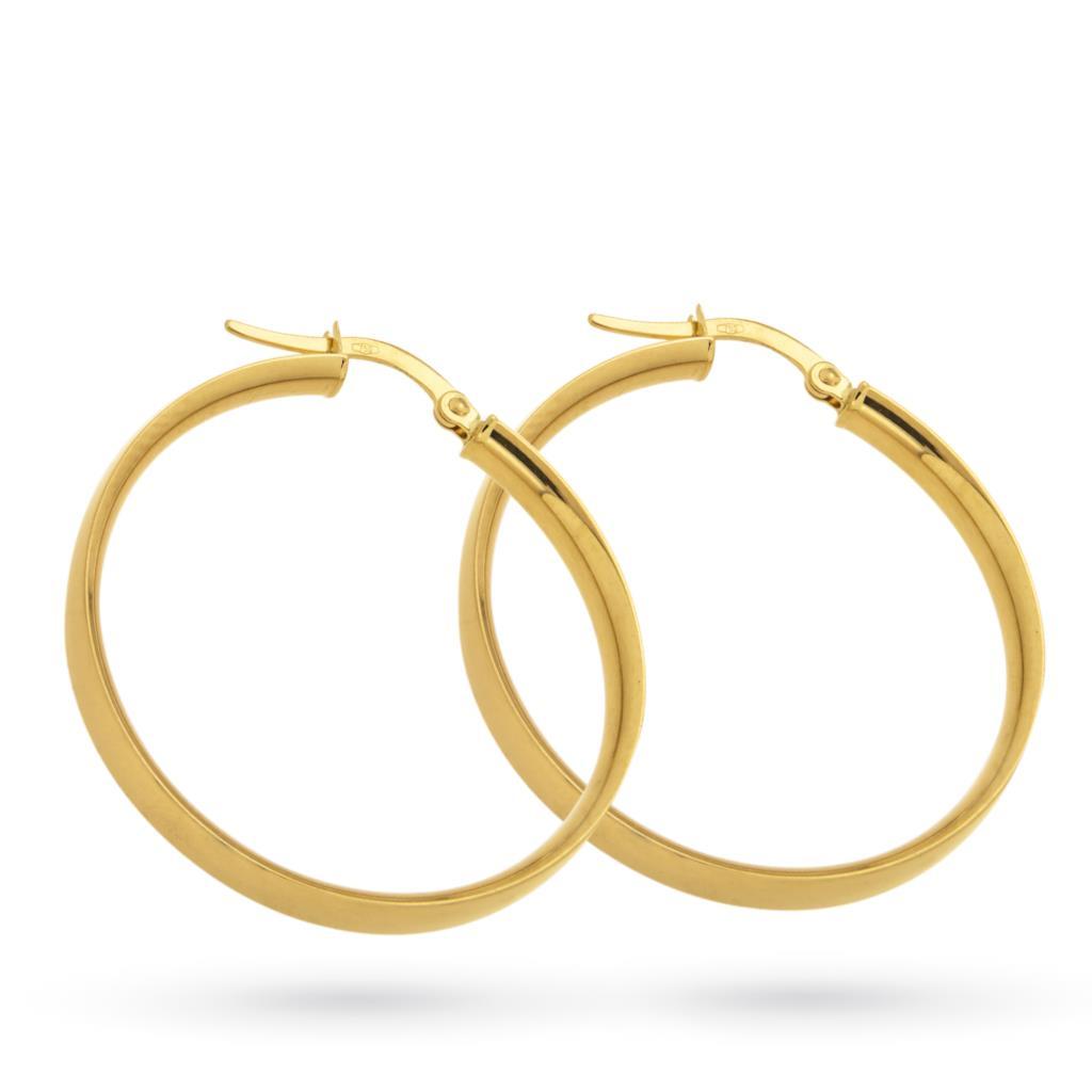 Orecchini a cerchio in oro giallo canna spessa piatta Ø 30 mm - CICALA