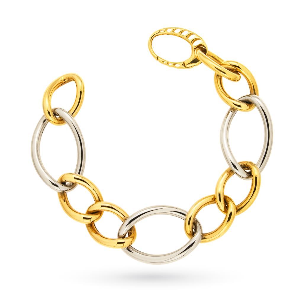 Bracciale a catena in oro bianco e giallo 18kt lucido - UNBRANDED