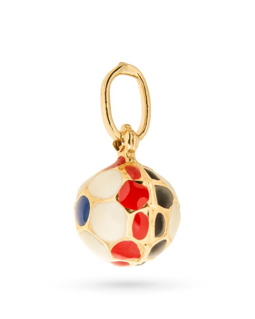 Ciondolo pallone da calcio Sampdoria piccolo in oro giallo e smalto colorato - UNBRANDED