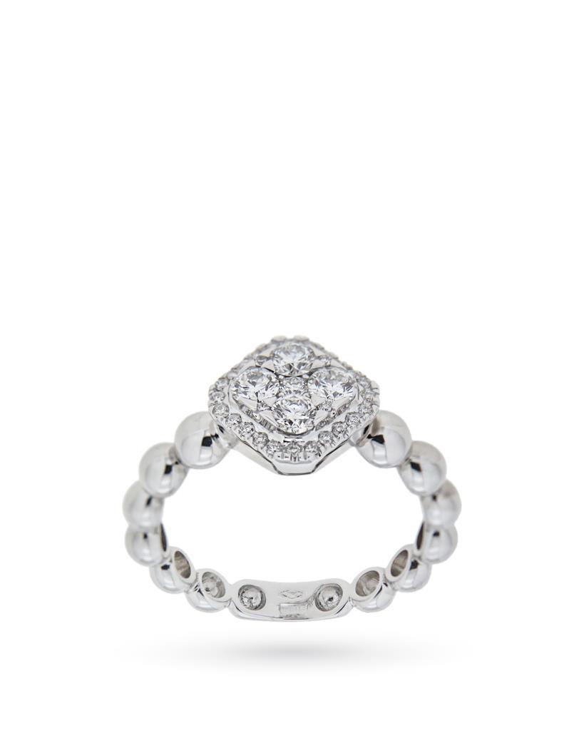 Anello in oro bianco con diamanti e sferette - ORO TREND
