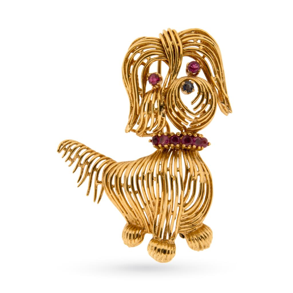 Spilla vintage con cane in oro giallo e rubini - UNBRANDED