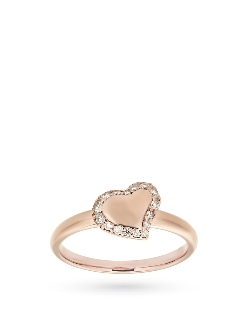 Anello in oro rosa con cuore e contorno di diamanti - CICALA