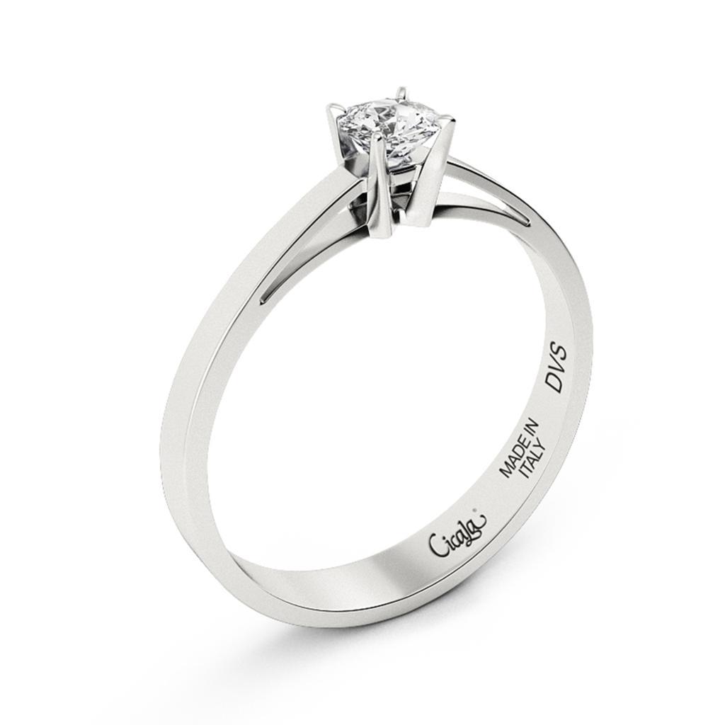 Anello di fidanzamento D Color con diamante 0,70ct D VS - CICALA