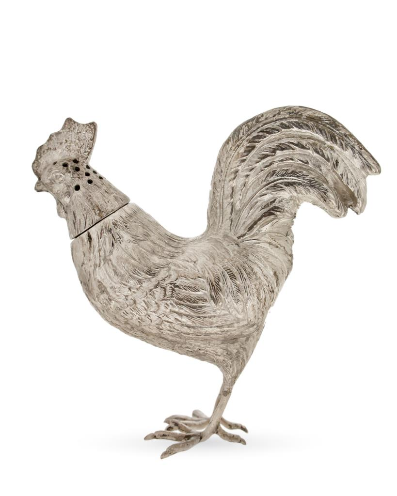 Gallo soprammobile spargitalco in argento 925 brunito - UNBRANDED
