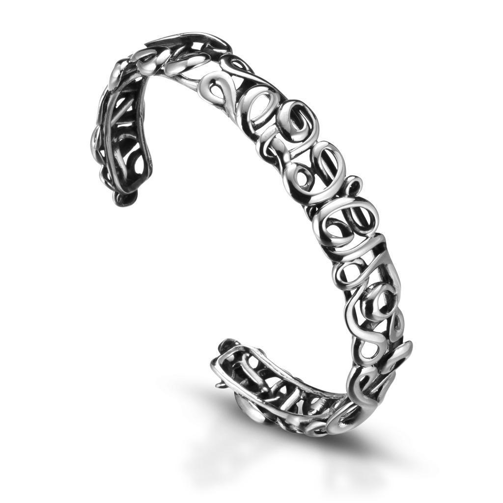 Bracciale rigido sottile in argento 925 ricamato - MARESCA OFFICINE ORAFE