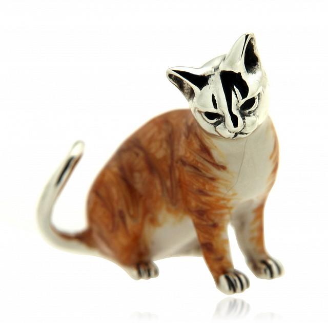 Gatto adulto soprammobile in argento e smalto - SATURNO