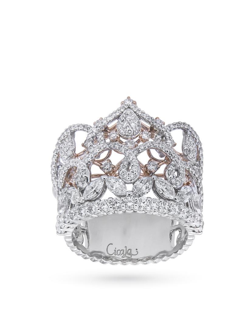 Anello a corona in oro bianco e rosa con diamanti - ORO TREND