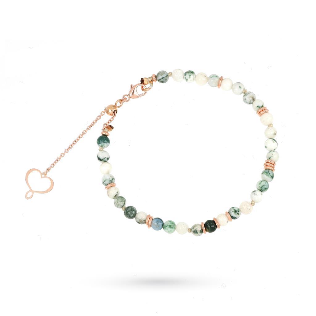 Bracciale in agata verde e argento rosa - MAMAN ET SOPHIE