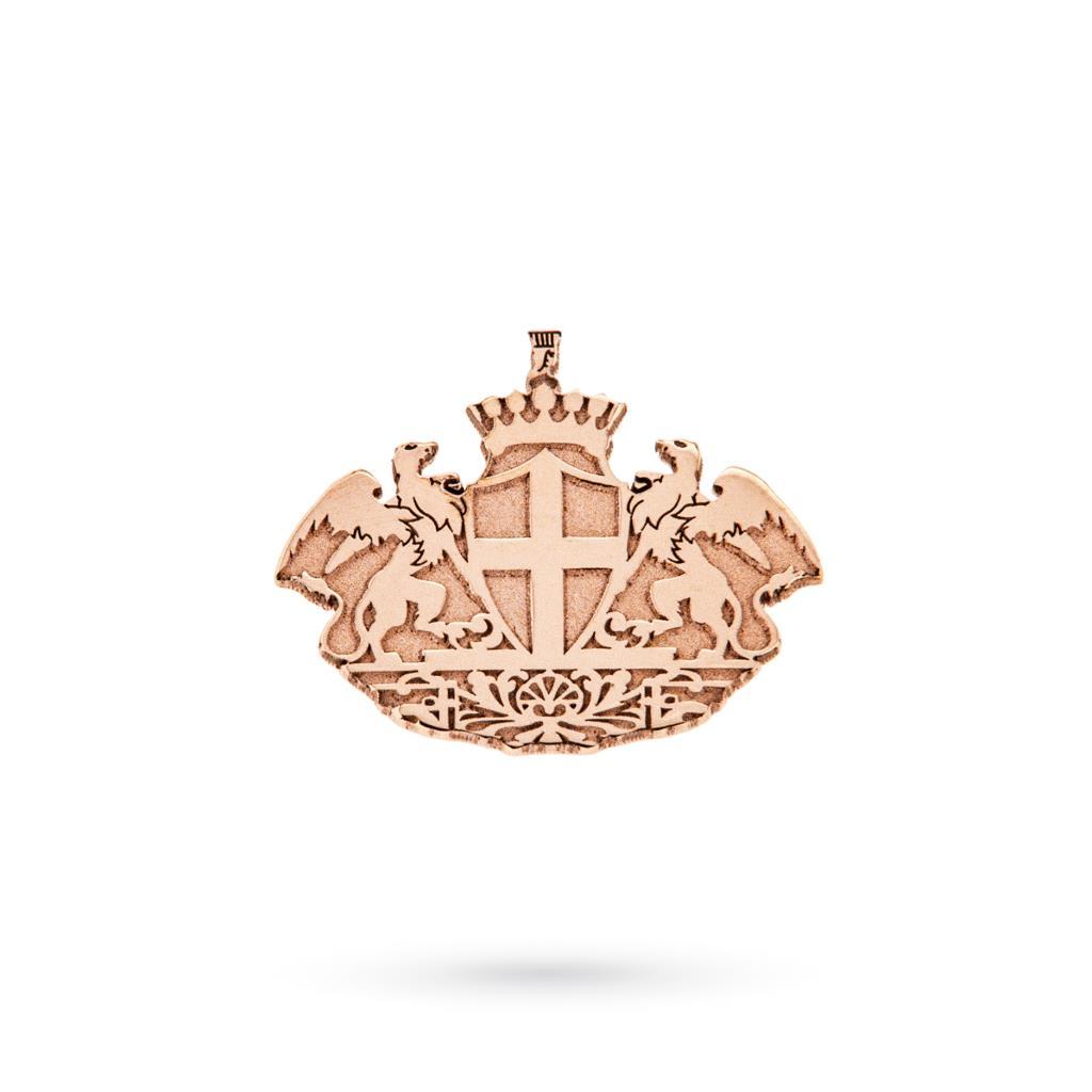 Spilla rever in oro rosa 9kt con stemma di Genova - CICALA