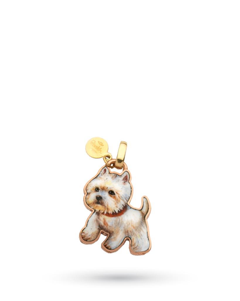 18kt yellow gold and copper Gabriella Rivalta West White Terrier Dog pendant - GABRIELLA RIVALTA