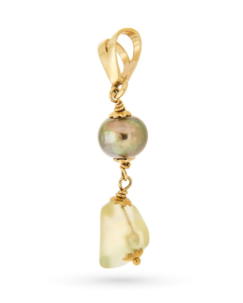 Ciondolo pendente in oro giallo con perla e fluorite  - UNBRANDED