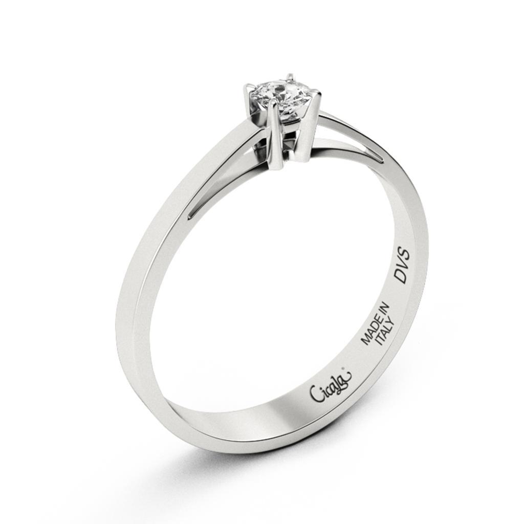 Anello di fidanzamento D Color con diamante 0,40ct D VS - CICALA