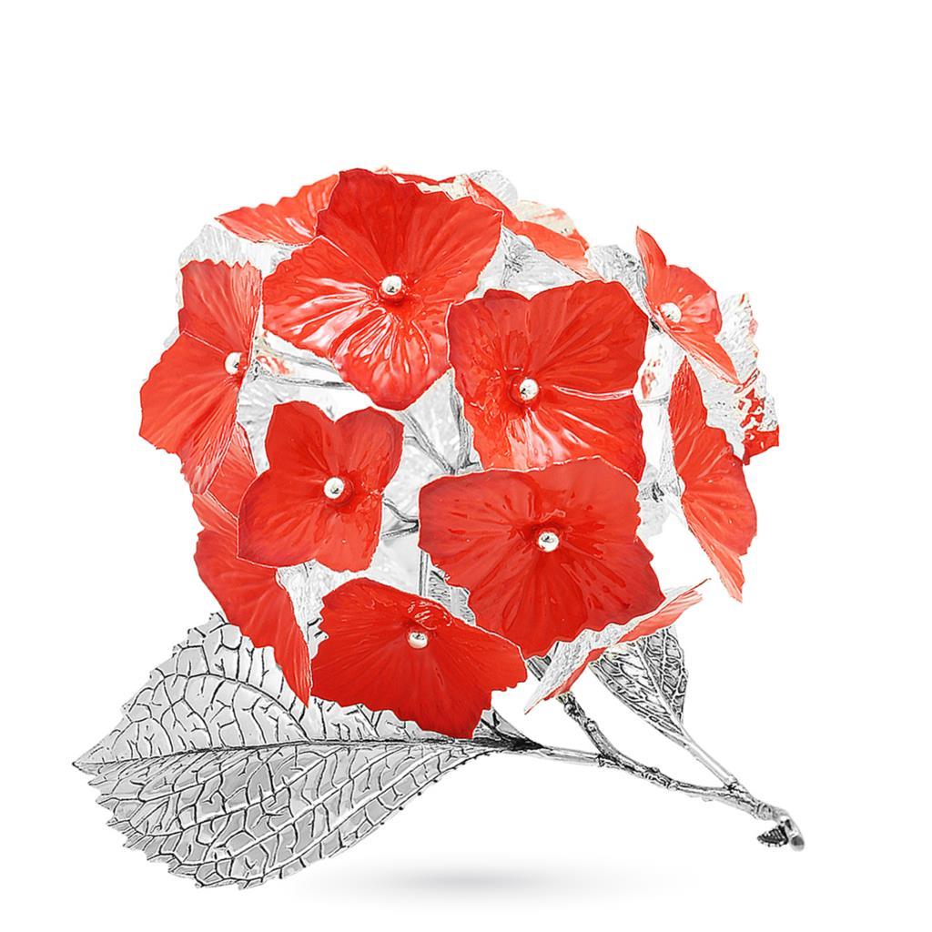 Ortensia rossa soprammobile in argento e smalto 17cm - GI.RO'ART