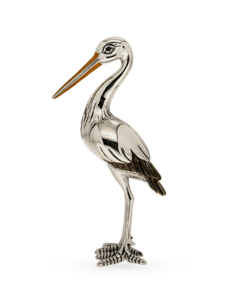 Cicogna grande soprammobile in argento e smalto - SATURNO