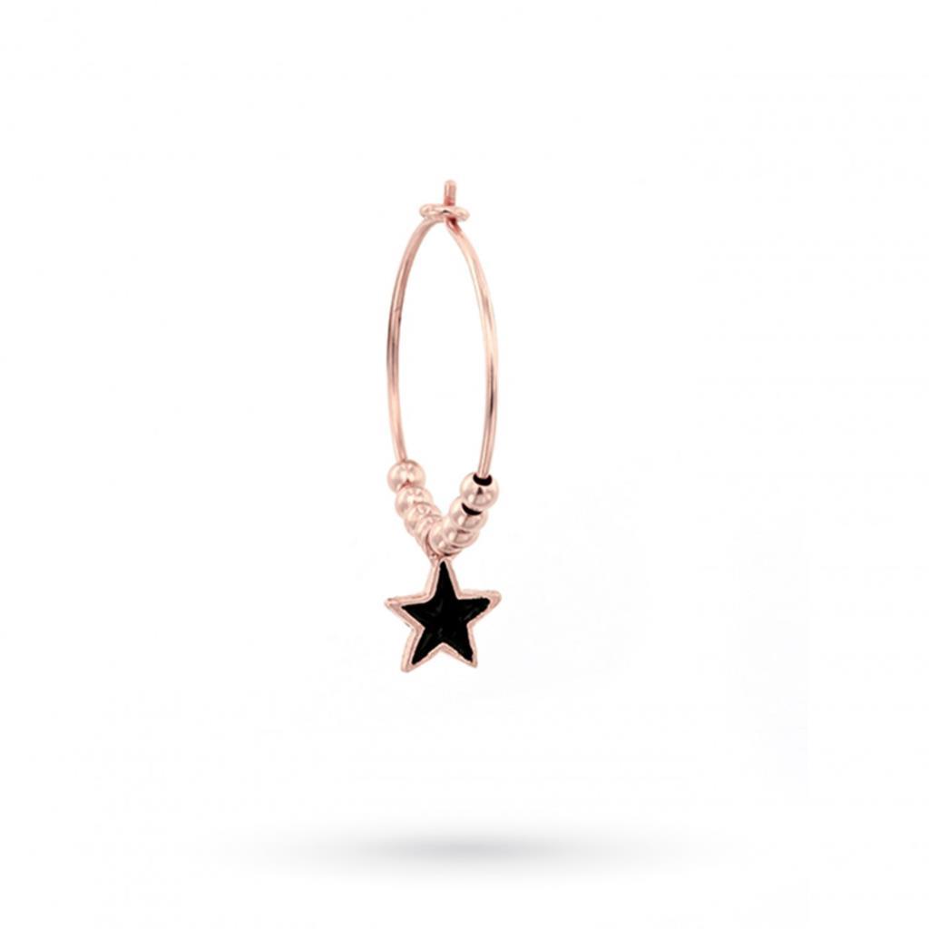 Orecchino singolo a cerchio con stella nera mignon in argento 925 placcato oro rosa - MAMAN ET SOPHIE