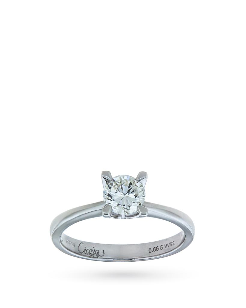 Anello solitario Lucis oro e diamante 0,66 ct G VVS2 - CICALA