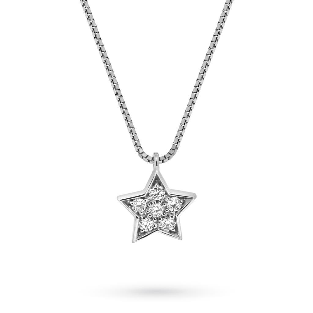 Girocollo in oro bianco con ciondolo stella e brillanti - MIRCO VISCONTI