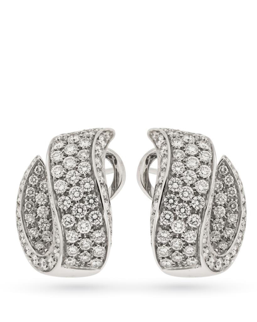 Orecchini in oro bianco con onda di pave di diamanti - SALVINI