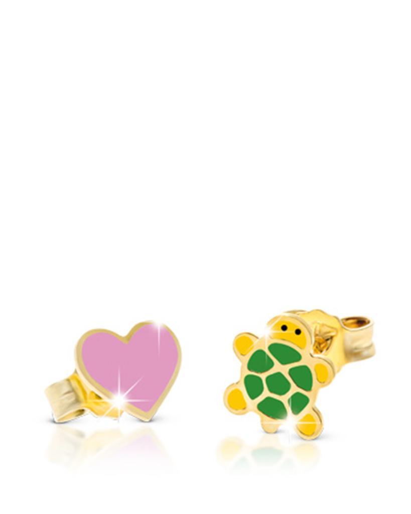 Orecchini LeBebè Primegioie in oro con cuore e tartaruga smaltati - LE BEBE