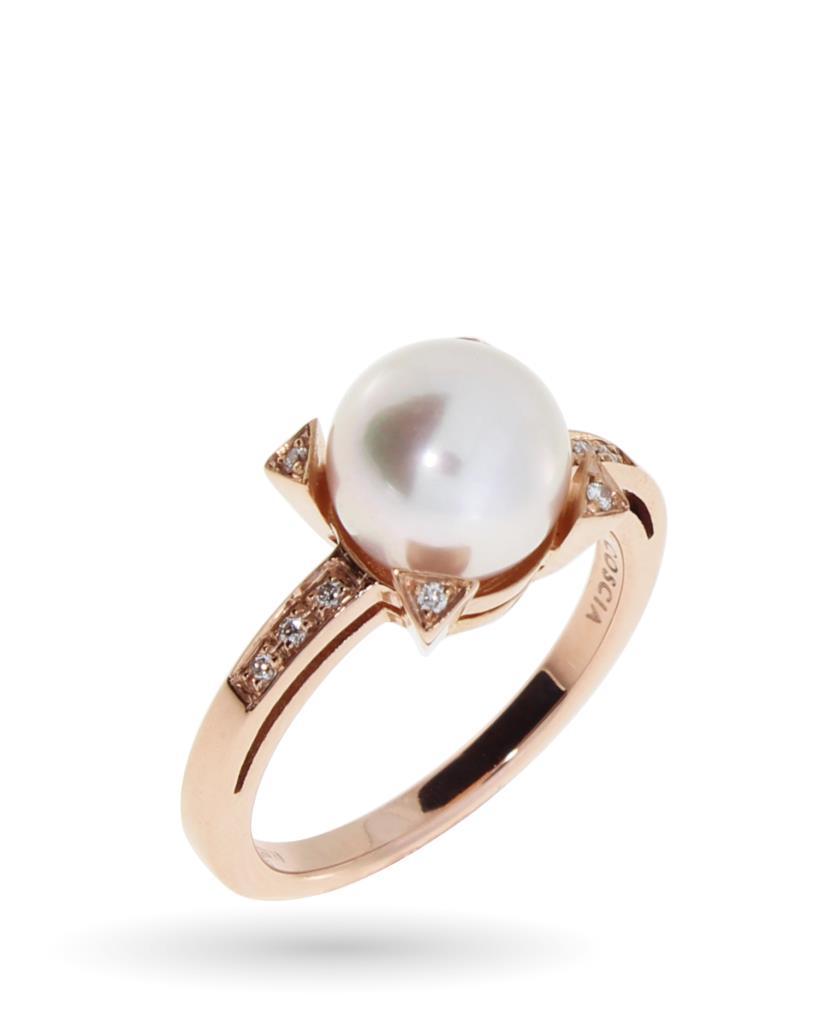 Anello in oro rosa con perla e diamanti - COSCIA