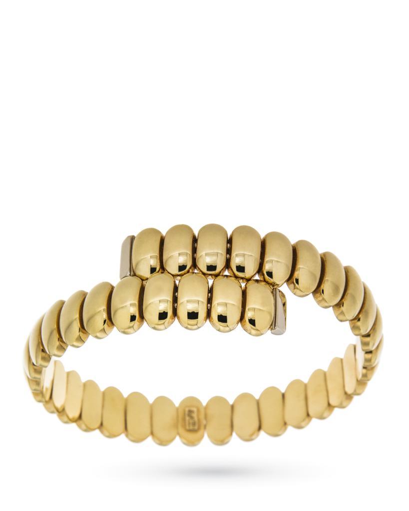Bracciale rigido in oro giallo con ovalini lucidi - UNBRANDED