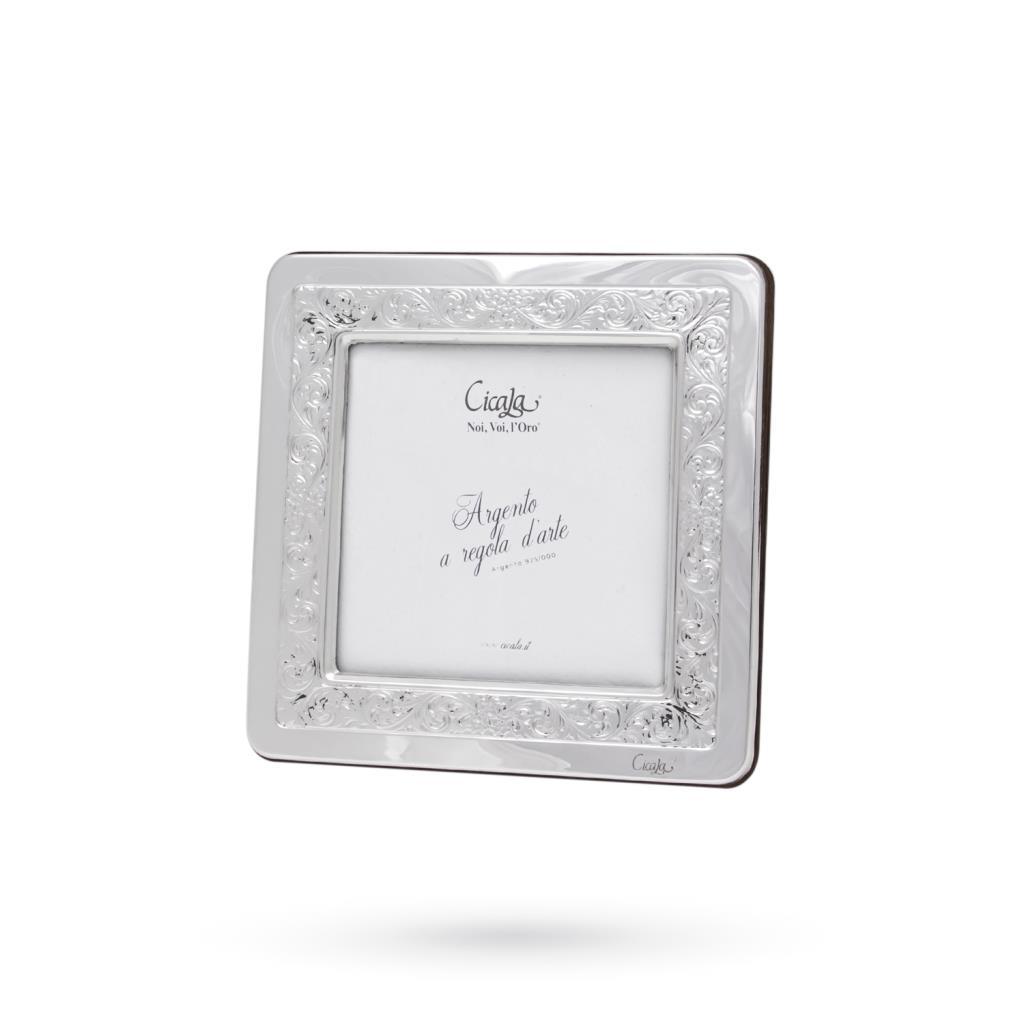 Cornice portafoto argento 9x9 cm ricami floreali - CICALA