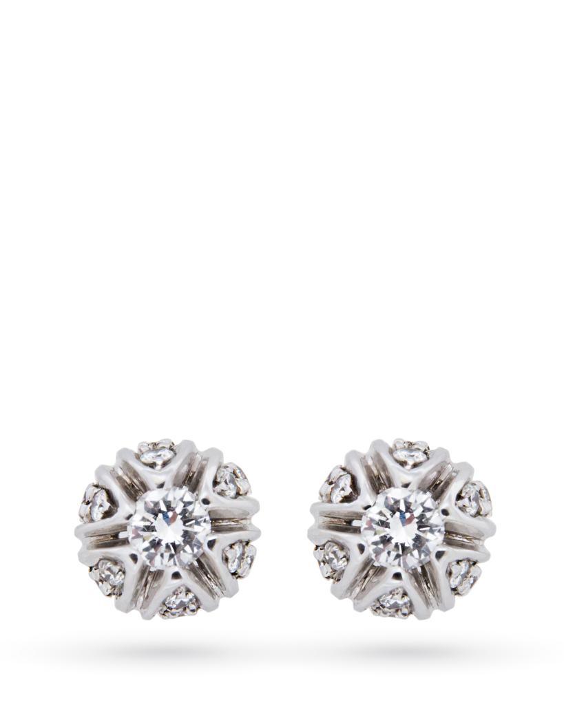 Orecchini in oro bianco a tulipano con diamanti 0,40ct H IF - SALVINI