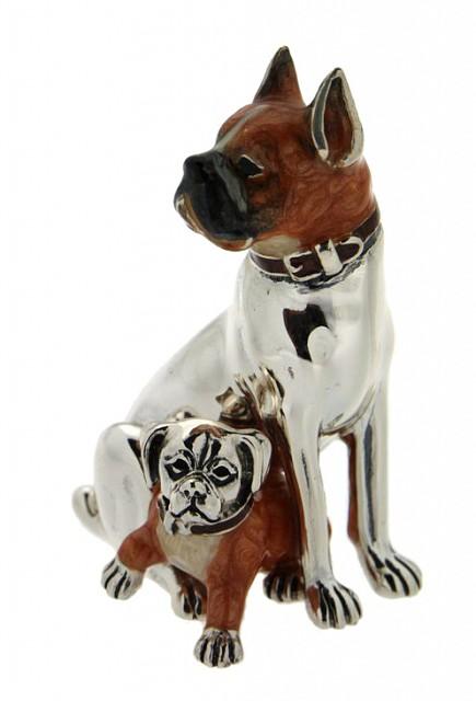 Boxer con cucciolo soprammobile in argento e smalto - SATURNO