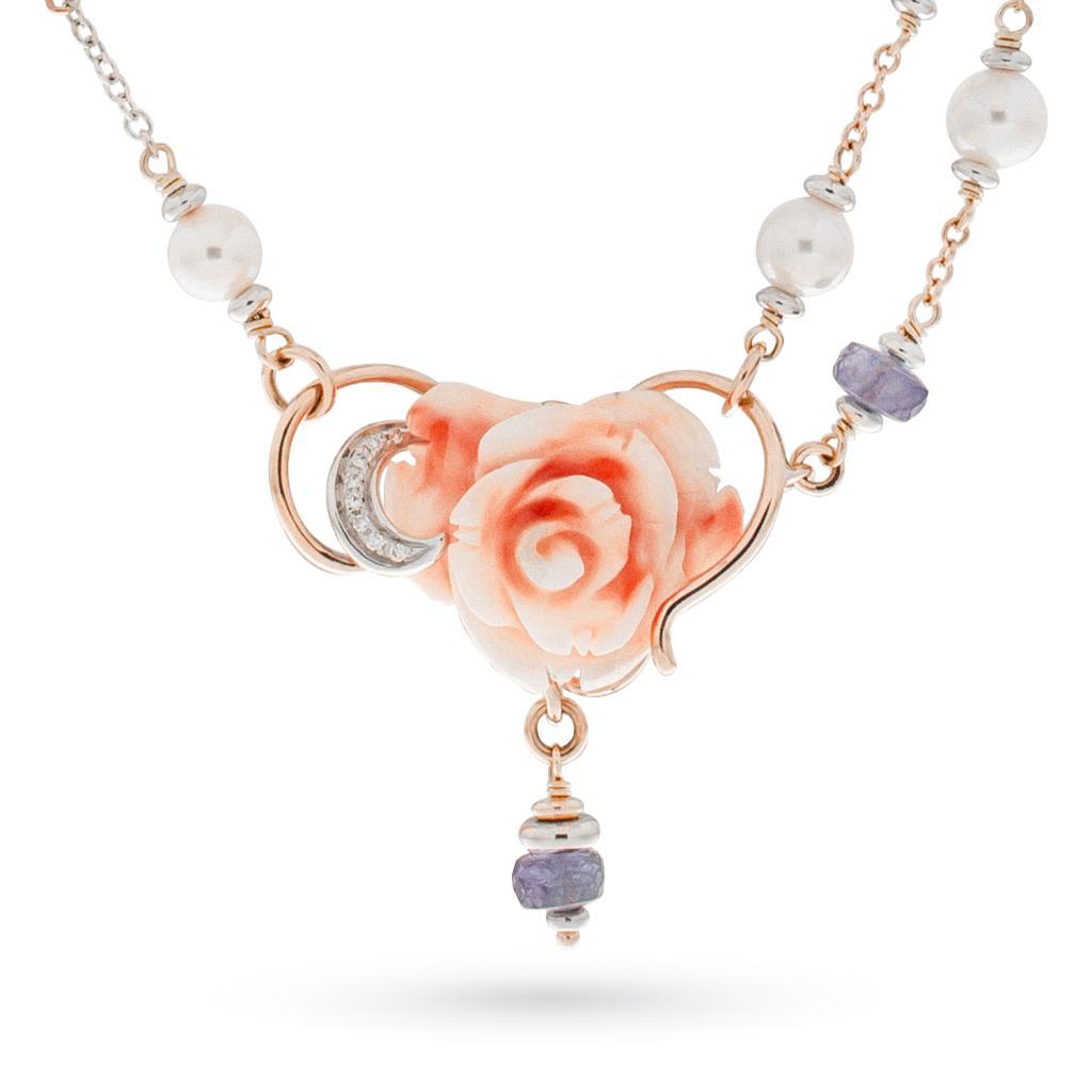 Collana con rosa di corallo e brillanti in oro rosa e bianco 18kt - CICALA