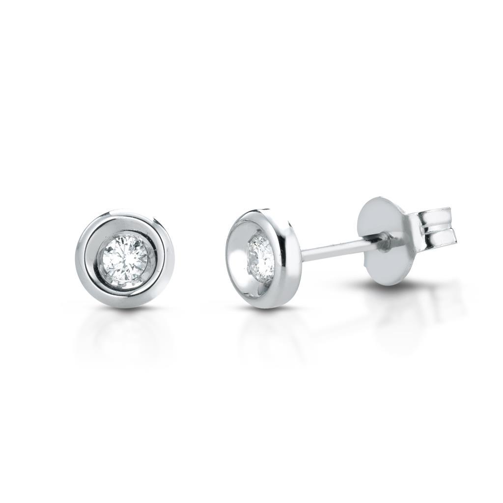 Orecchini a lobo rotondi oro bianco con diamanti 0,12ct - LELUNE DIAMONDS