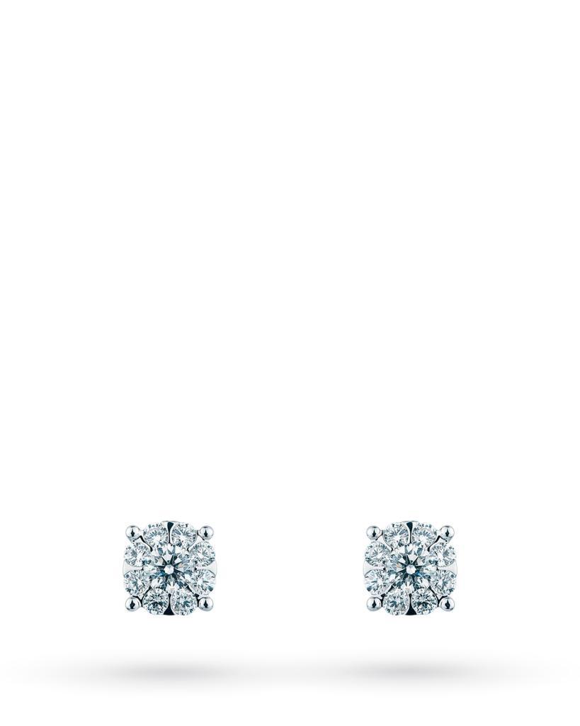 Orecchini a lobo multipietra in oro bianco con diamanti ct 0,12 G VS - MIRCO VISCONTI