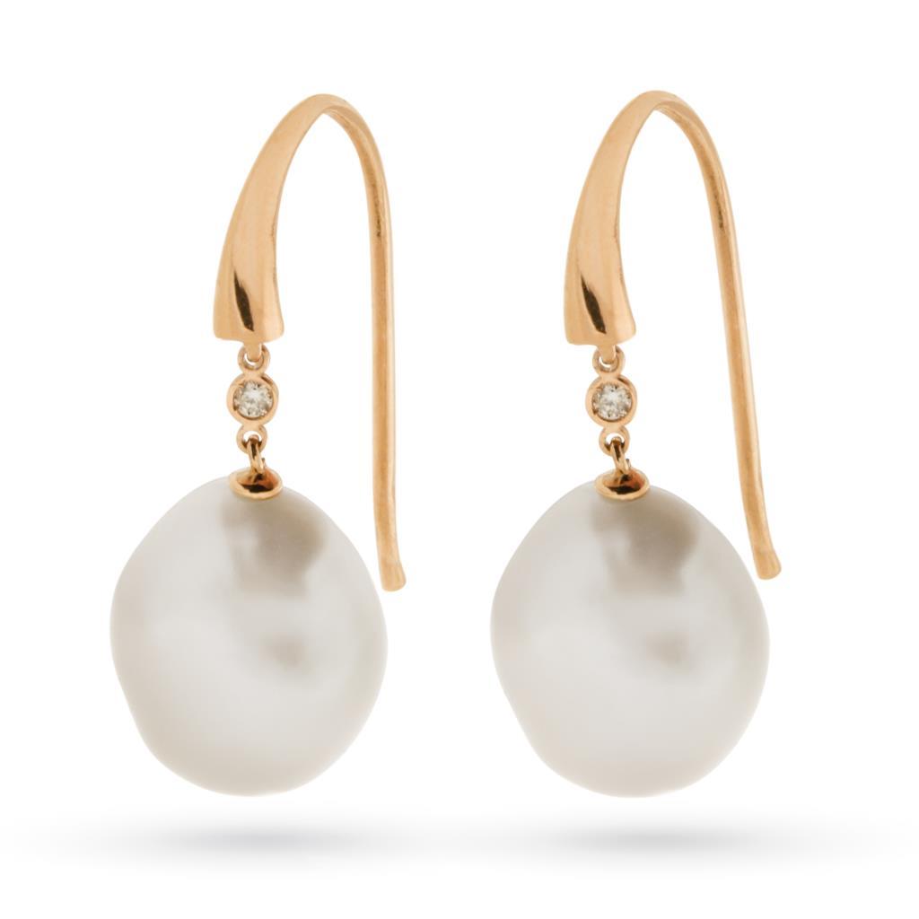 Orecchini con perla barocca e brillante oro rosa 18kt - COSCIA