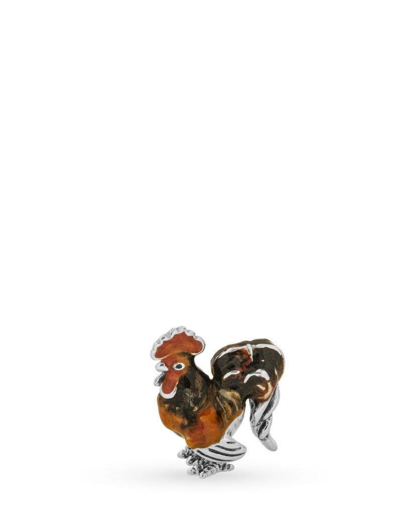 Gallo mini soprammobile in argento e smalto - SATURNO
