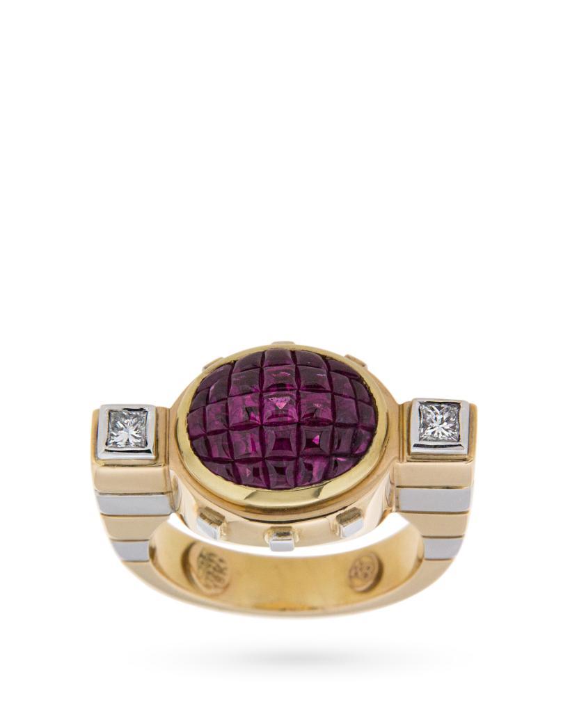 Anello La Nouvelle Bague in oro bianco e rosa con diamanti e rubini - LA NOUVELLE BAGUE