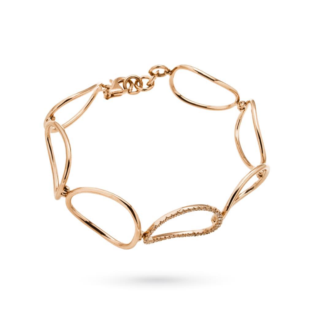 Bracciale oro rosa con ovali lucidi e con diamanti - CICALA
