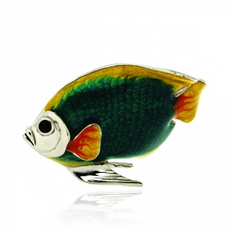 Pesce grande verde e giallo soprammobile in argento e smaltato - SATURNO