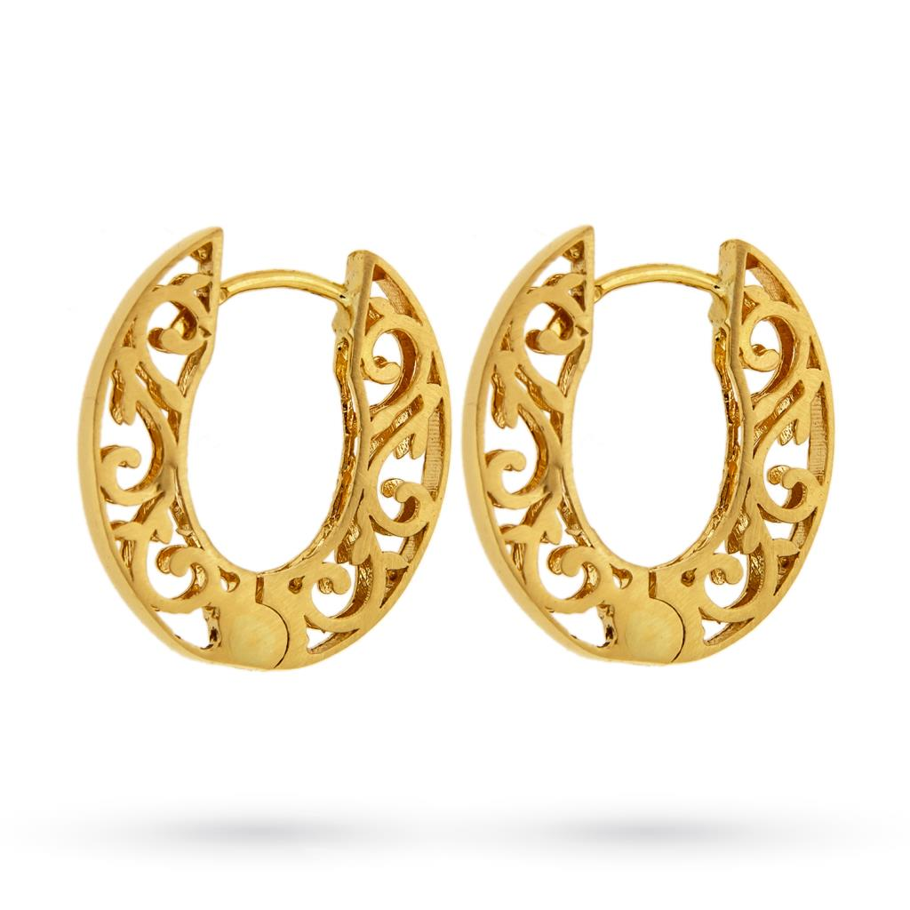 Oval earrings in 18kt yellow gold with smooth barrel - CICALA