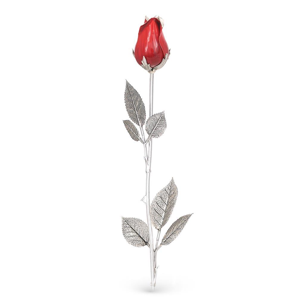 Bocciolo di rosa rossa soprammobile in argento e smalto 48cm - GI.RO'ART
