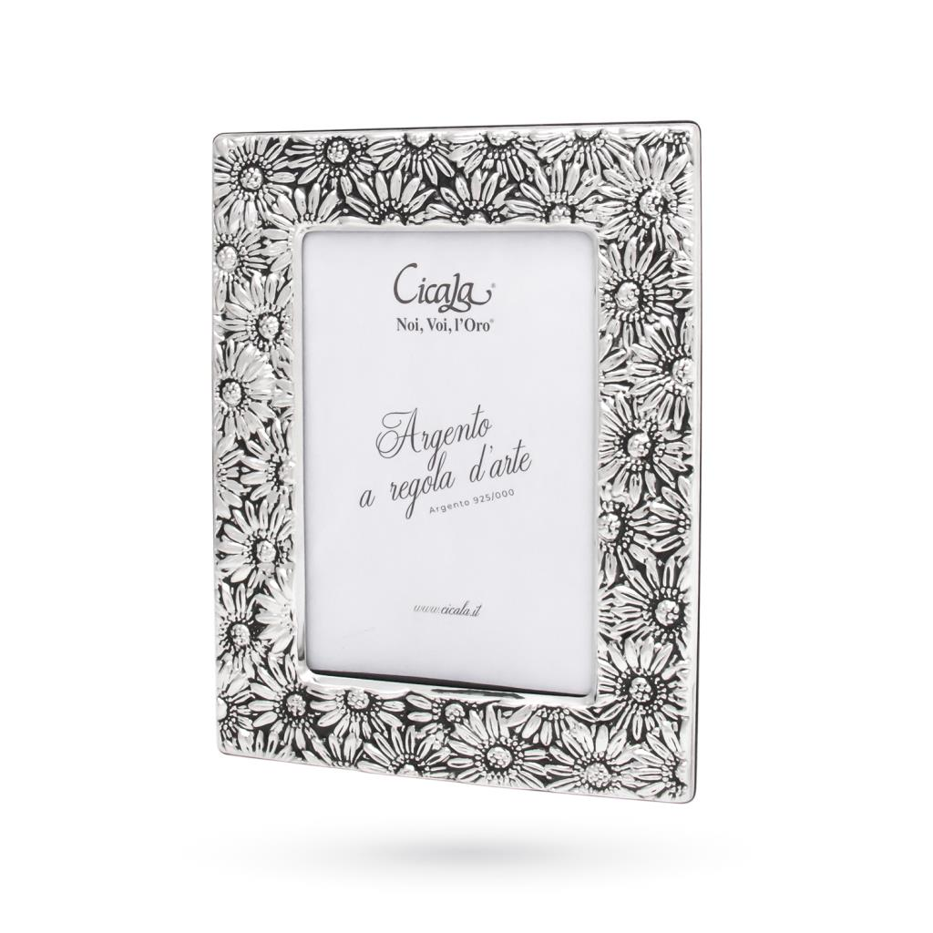 Silver photo frame 10x15 cm with engraved flowers - CICALA