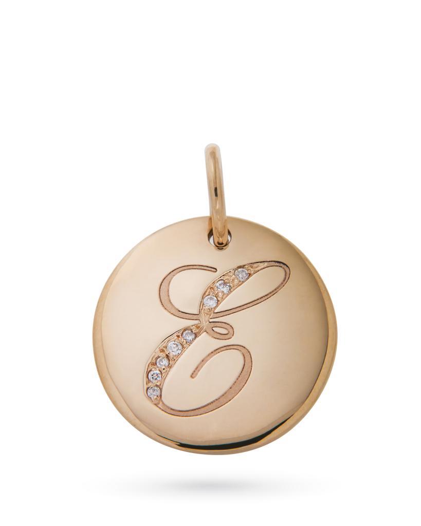Ciondolo rotondo in oro rosa con lettera E in diamanti - ORO TREND