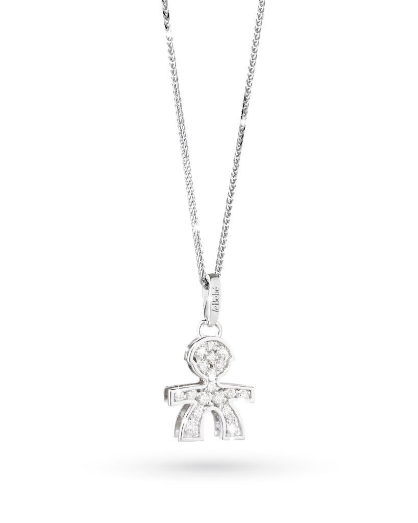 Ciondolo leBebe LBB011 bimbo in oro bianco con diamanti - LE BEBE