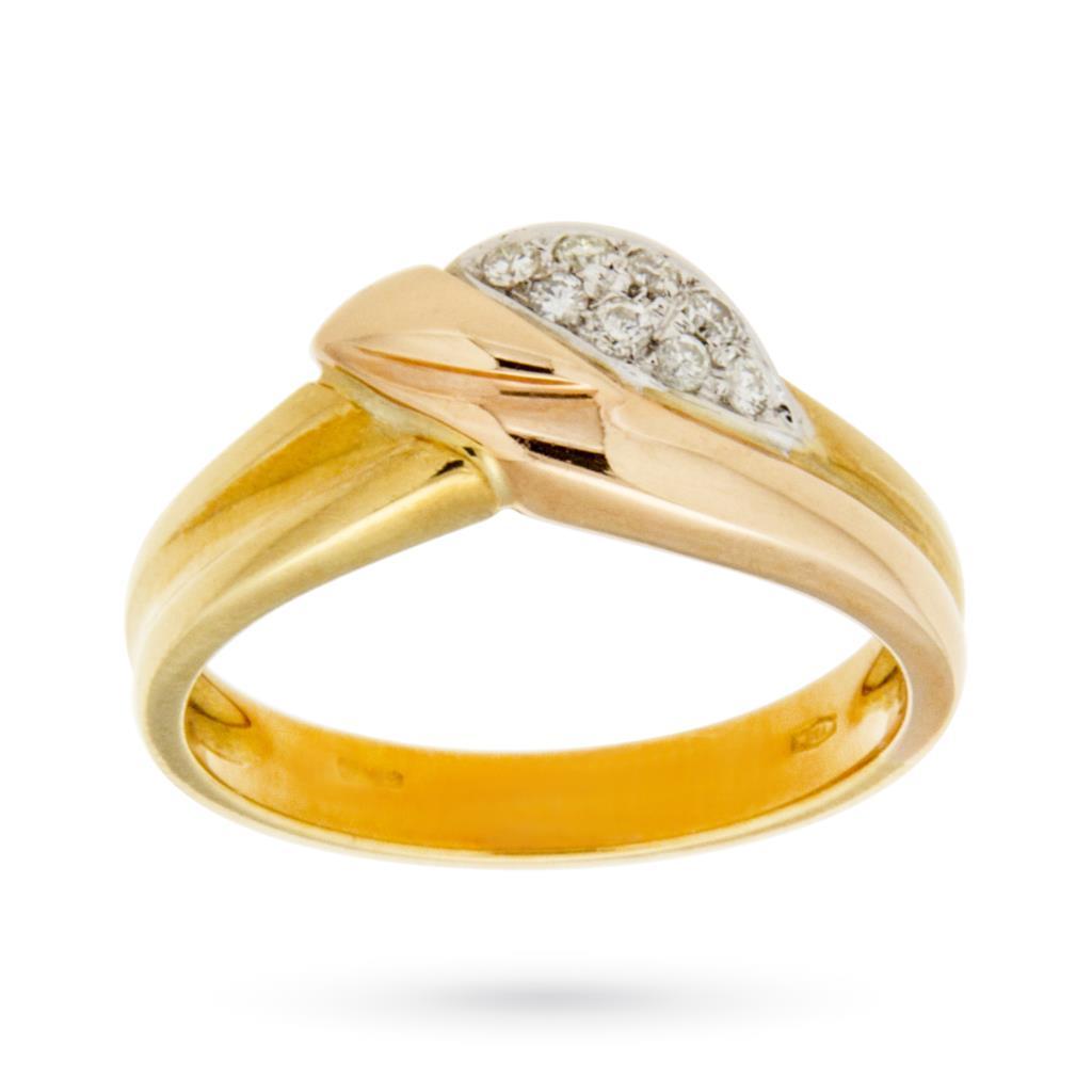 Anello in oro bianco, giallo e rosa con foglia di diamanti 0,11ct - CICALA