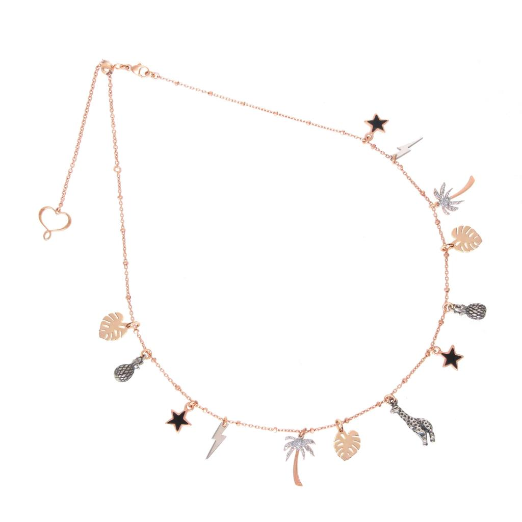 Collana con charms in argento 925 placcato in oro rosa  - MAMAN ET SOPHIE