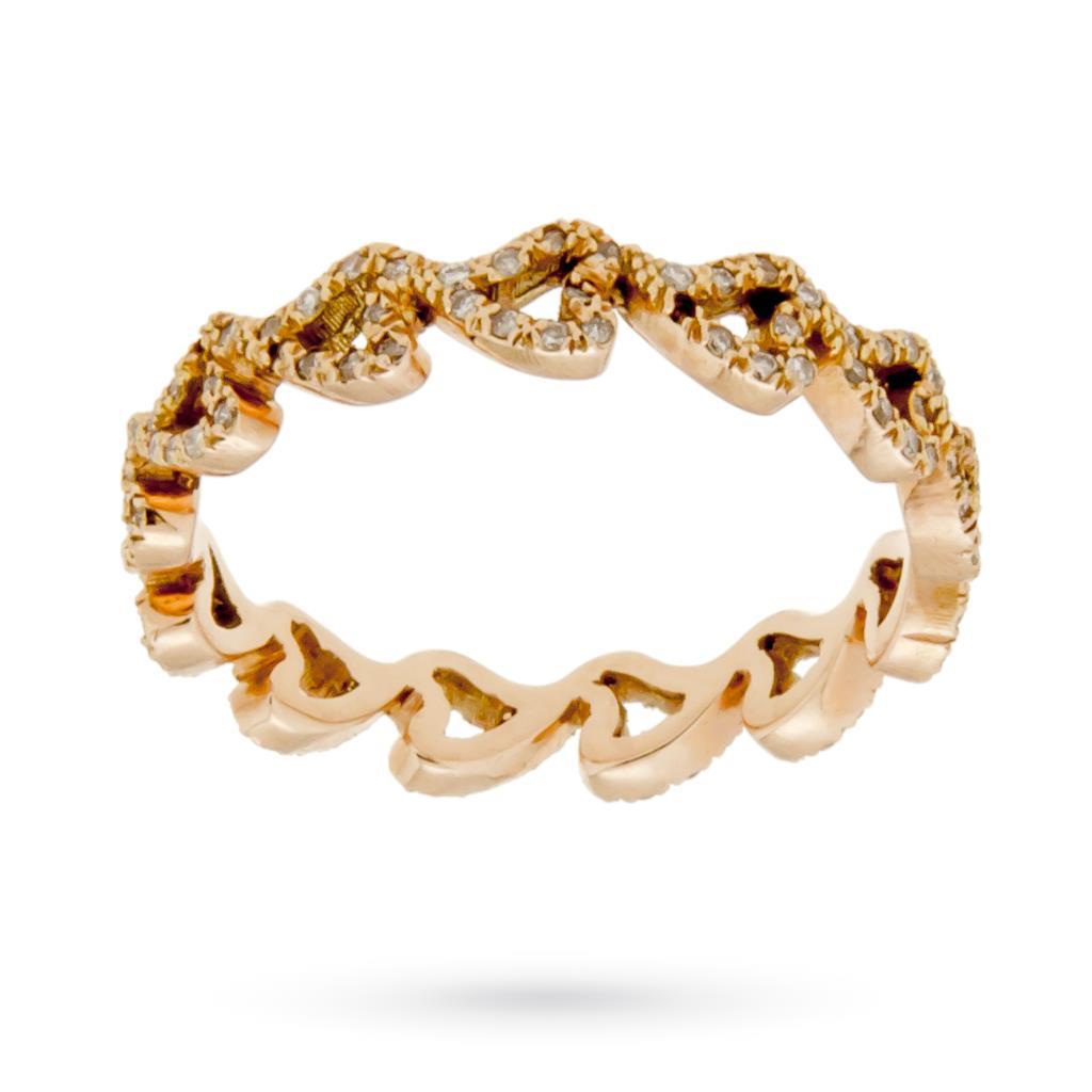 Fedina in oro rosa con cuori e diamanti  - CICALA