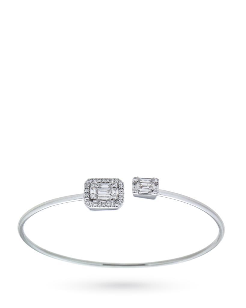 Bracciale rigido in oro bianco con diamanti - CICALA