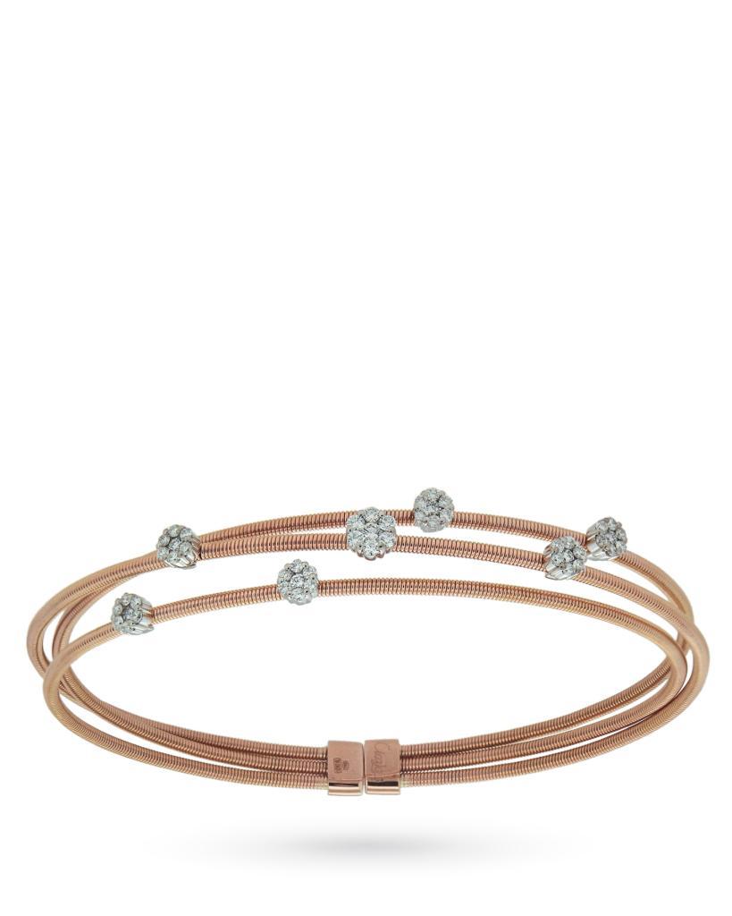 Bracciale in oro rosa con 7 fiori di diamanti - ORO TREND