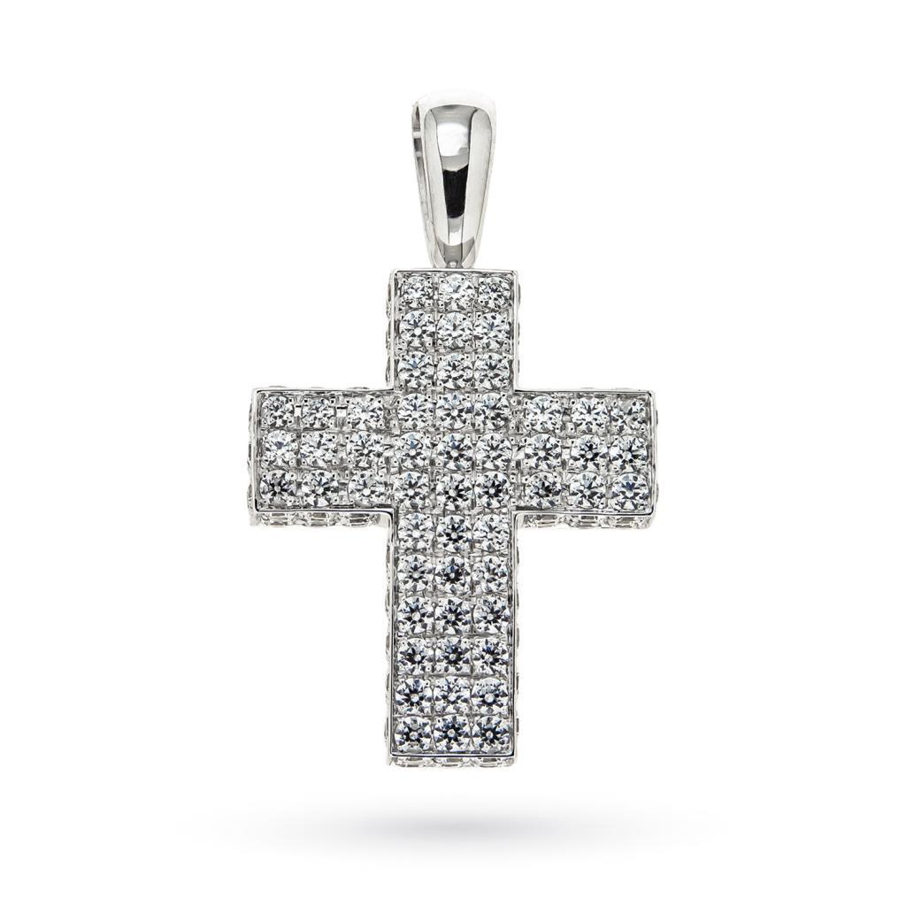 Ciondolo croce oro bianco con Swarovsky - CICALA