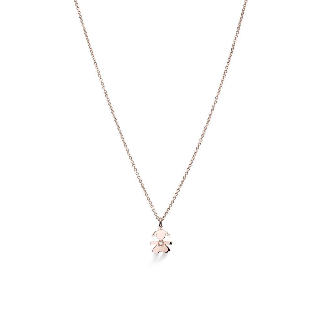 Girocollo leBebe LBB322 con bimba pendente in oro rosa e diamante - LE BEBE