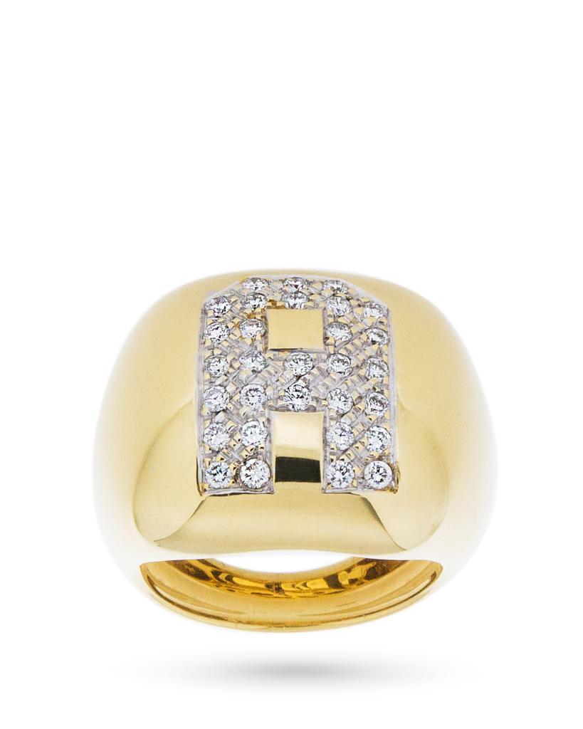 Anello in oro con iniziale A in diamanti 0,64ct - UNBRANDED